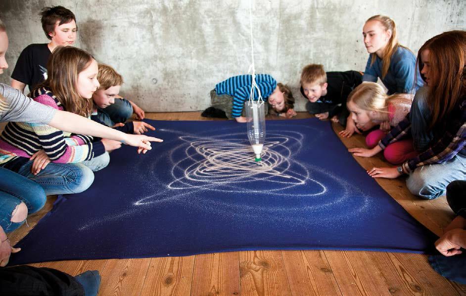 En aske fyldt med salt bruges som pendul. Når asken svinger dannes bestemte spor på gulvet. Hvorfor bliver mønstrene så smukke?